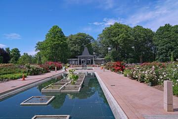 Reflecting pool in the rose garden at the Royal Botanical Gardens in Hamilton, Ontario, Canada