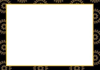 Composition of gold floral design on black frame with central white copy space