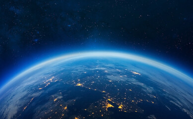 Blue Earth in the space. galaxy background. Solar system. Blue gradient. Space wallpaper.