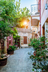 Scenic picturesque streets of Chania venetian town. Chania, Creete, Greece