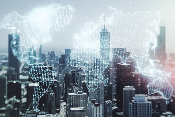 Abstract creative digital world map on Chicago cityscape background, globalization concept. Multiexposure