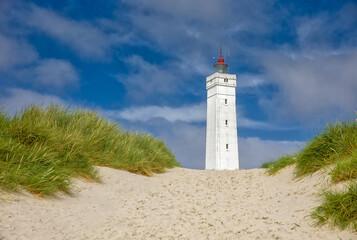 the white square lighthouse of Blavandshuk in denmark