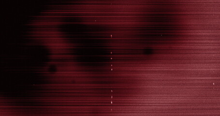 Image of multiple white specks and lines moving on seamless loop in black and red