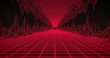 Image of glowing red grid tunnel moving on seamless loop