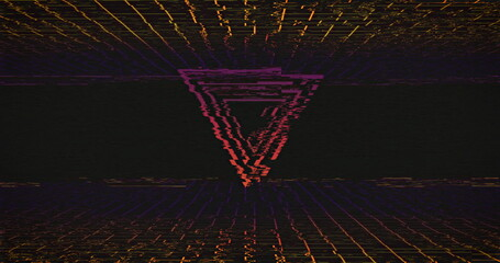 Image of glowing neon pink triangles and grid flickering on seamless loop