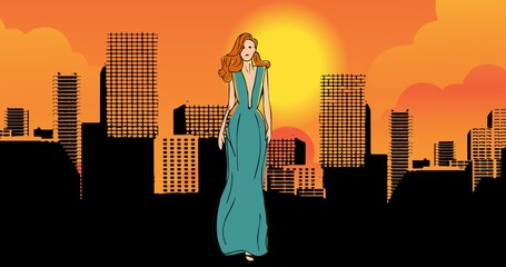 Composition of drawing of model in city on orange background