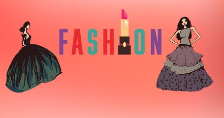 Composition of drawing of models with fashion text on red background