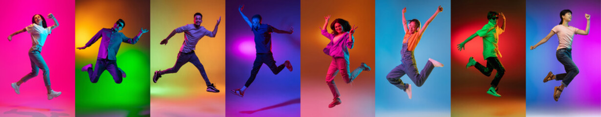Portrait of group of people jumping isolated on multicolored background in neon light, collage.