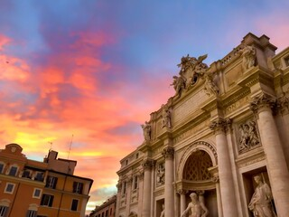 Famous Trevi Fountain In Rome At Sunset