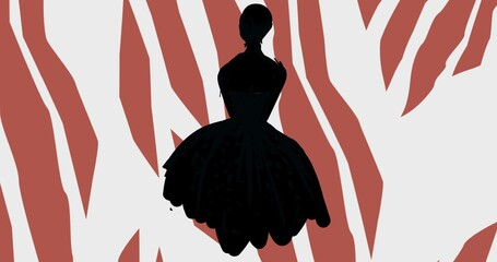 Composition of fashion model in dress silhouetted over brown and white abstract pattern background
