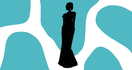Composition of fashion model in dress silhouetted over blue and white abstract pattern background