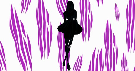 Composition of fashion model in dress silhouetted over purple and white abstract pattern background