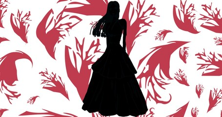 Composition of fashion model in dress silhouetted over pink and white abstract pattern background
