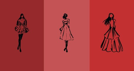 Composition of three fashion models in dresses over three shades of red background