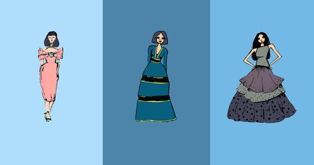 Composition of three fashion models in dresses over three shades of blue background