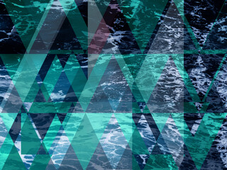 Abstract sea geometric background flat with triangle shape  water wave, vector illustration.
