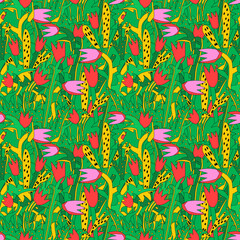 seamless tropical pattern.cartoon hippie careless flowers.funky childish style of the 60s and 70s.summer fresh trend textiles.organic green wallpaper.hand drawn bizarre leaves with outline.