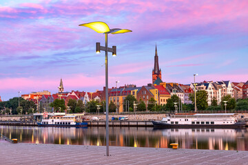 Panorama of Cathedral, Old Town and river Oder at sunset, Szczecin, Poland