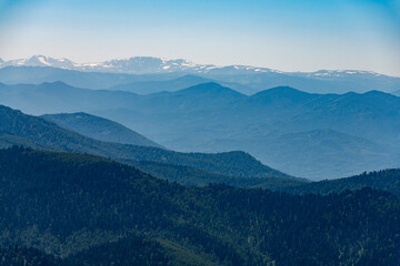 view of the snowy peaks, taiga of Gorny Altai from a height of 2,600 meters above sea level