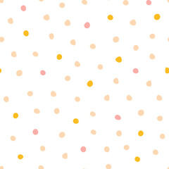 Cute abstract background with spots. Seamless vector pattern for baby nursery and children's wallpapers in the Scandinavian style