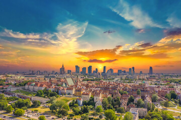 Aerial panorama of Warsaw, Poland  over the Vistual river and Ci