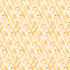 A pattern of rhombuses, spots, circles and lines, beige and brown. Suitable for backgrounds, fabrics, wrapping paper and wallpaper