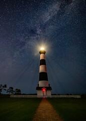 Bodie Island Lighthouse in North Carolina at Night