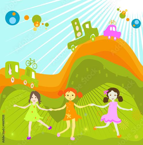 grupa dzieci bawiących się