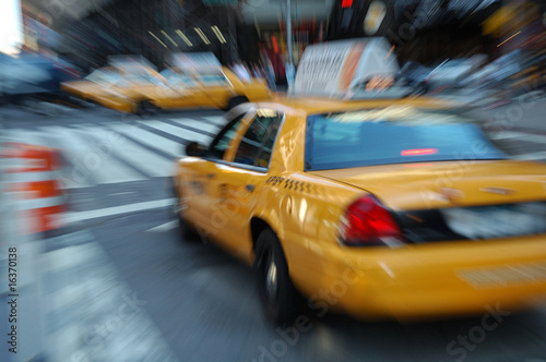 Taxi cab in New York, blurry motion.