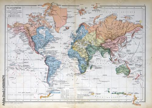 Stara mapa z 1883 roku, mapa świata