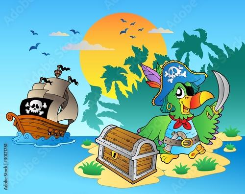 Piracka papuga i skrzynia na wyspie