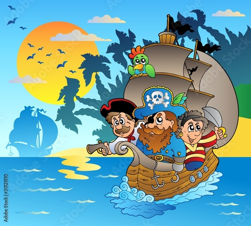 Trzech piratów w łodzi w pobliżu wyspy