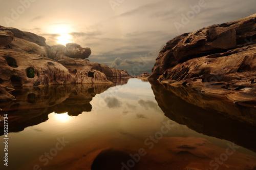 sunrise head dog at Sam Phan Bhok Grand Canyon, Mekhong river, U