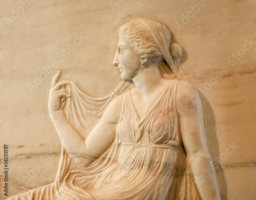 Marble relief of roman woman