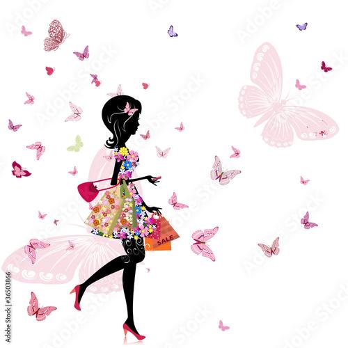 dziewczyna z kwiaciarnią w