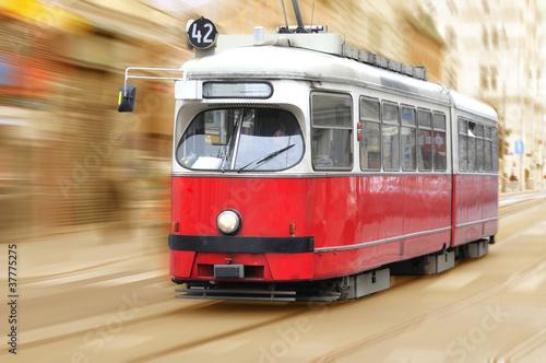 Vintage city tram on moving
