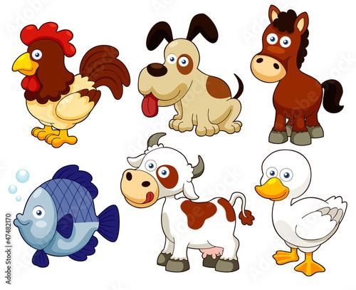 ilustracja kreskówka zwierząt gospodarskich