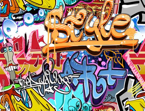 Ściana graffiti. Tło wektor sztuki miejskiej. Bez szwu tekstury