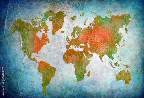 Mapa świata vintage z niebieskim tłem
