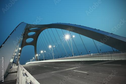 Steel structure bridge night scene