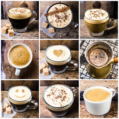 Kolaż kawy z kawowym espresso, cappuccino, latte i mokką