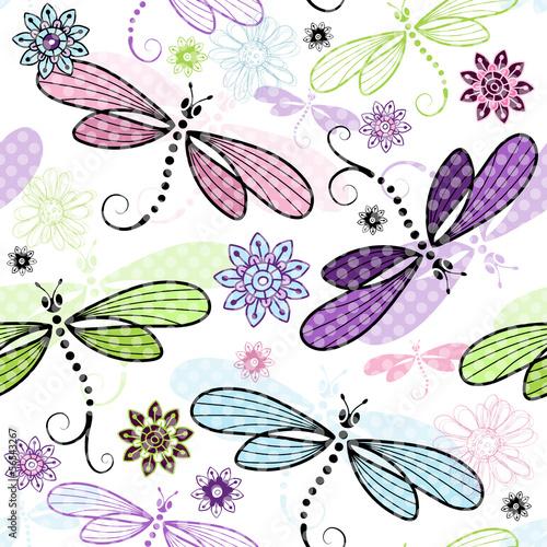 Wiosna bez szwu kwiatowy wzór z ważki