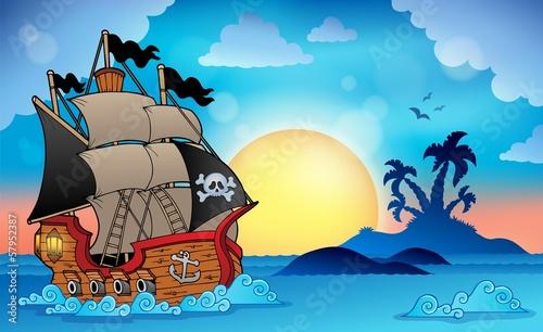 Statek piracki w pobliżu małej wyspy 3