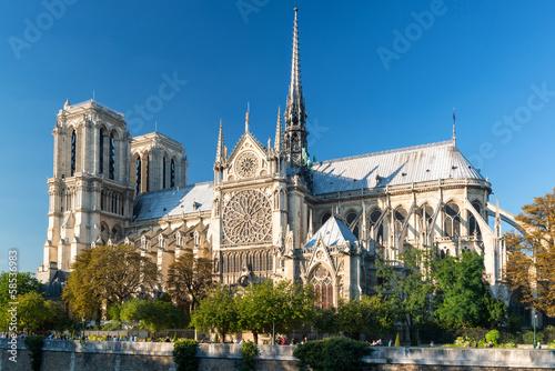 Famous Cathedral of Notre Dame de Paris in summer, France