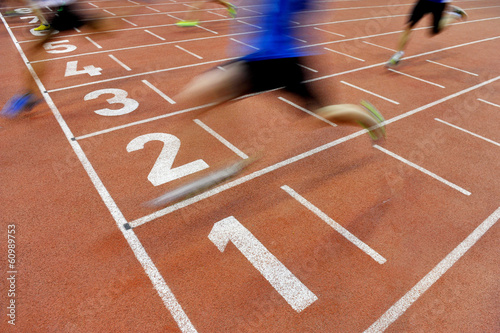 Athletes cross the finish line