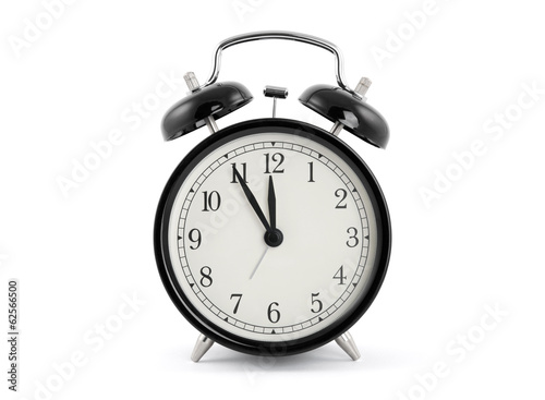 Black old style alarm clock with clipping path