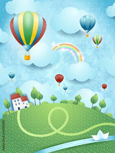 Krajobraz fantasy z balonów na ogrzane powietrze i rzeki