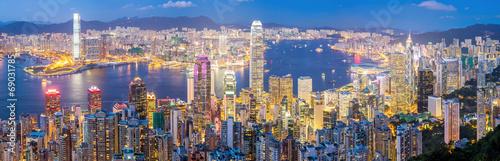 Hongkong Skyline at Dusk Panorama