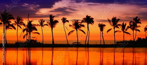 Travel banner - Beach paradise sunset palm trees