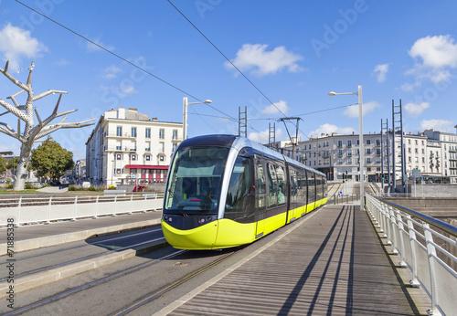Yellow tram an the street of Brest, France